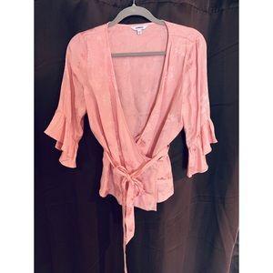Pink Floral Wrap Blouse